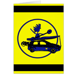 Kayak, Bike, Car On Blue Greeting Card
