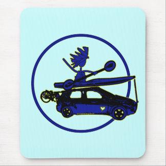Kayak, Bike, Car On Blue Mouse Pad