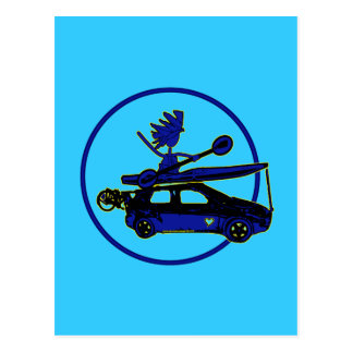 Kayak, Bike, Car On Blue Postcard