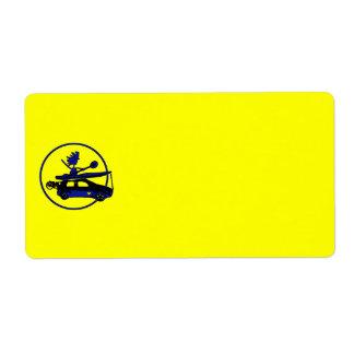 Kayak, Bike, Car On Blue Shipping Label