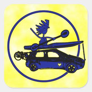 Kayak, Bike, Car On Blue Square Sticker