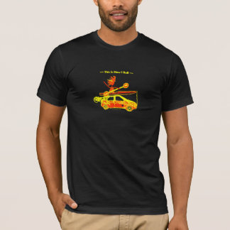 Kayak, Bike, Car On Blue T-Shirt