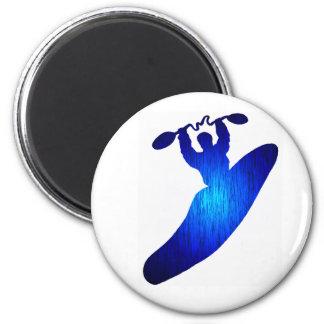 Kayak Blue Holed 2 Inch Round Magnet