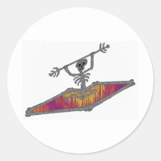 Kayak Bones Trip Classic Round Sticker