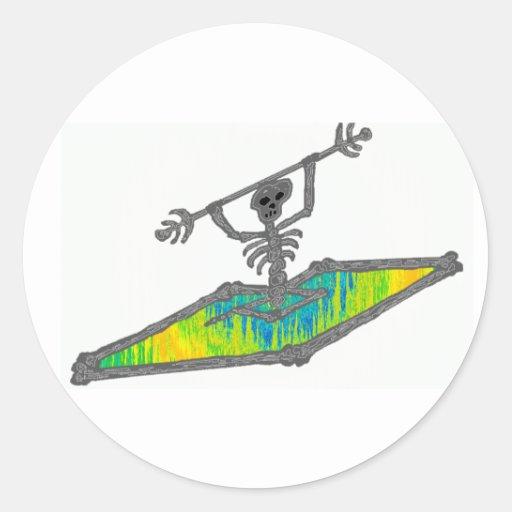 Kayak Bones Wavelength Round Stickers