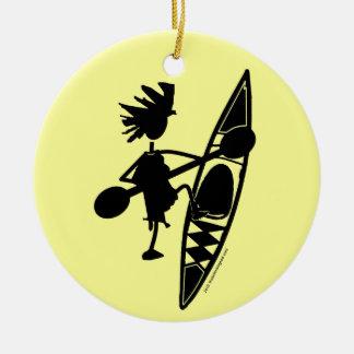 Kayak Canoe Joyful Silhouette Ceramic Ornament