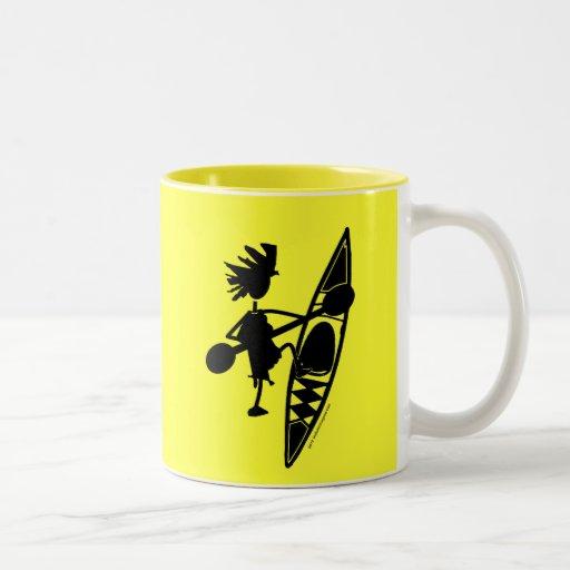 Kayak Canoe Joyful Silhouette Coffee Mugs