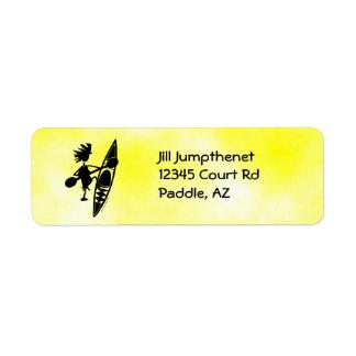Kayak Canoe Joyful Silhouette Return Address Label