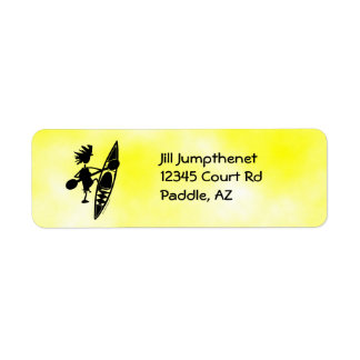 Kayak Canoe Joyful Silhouette Label