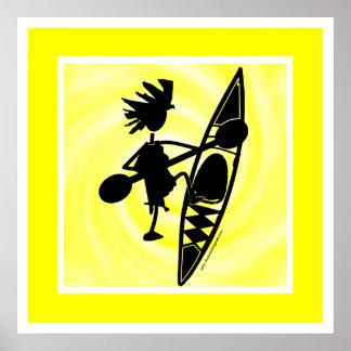 Kayak Canoe Joyful Silhouette Poster