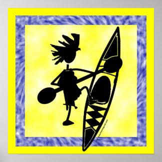 Kayak Canoe Joyful Silhouette Posters