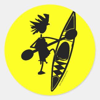 Kayak Canoe Joyful Silhouette Round Stickers