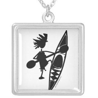Kayak Canoe Joyful Silhouette Silver Plated Necklace