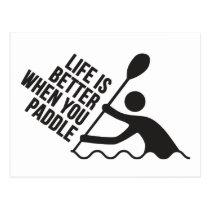 Kayak canoe paddle design postcard