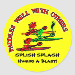 Kayak Canoe - Paddles Well With Others Classic Round Sticker