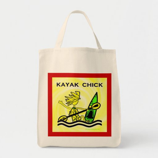 Kayak Chick Designs & Things Grocery Tote Bag