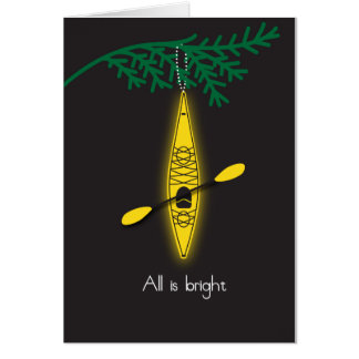 """kayak Christmas card """"All is bright"""""""