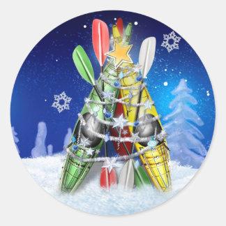 Kayak Christmas Tree Classic Round Sticker