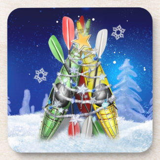 Kayak Christmas Tree Drink Coaster