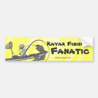 Kayak Fishing Black & White Whimsy Bumper Sticker