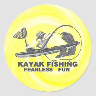 Kayak Fishing Black & White Whimsy Classic Round Sticker