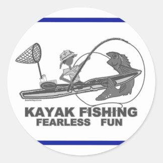 Kayak Fishing Black & White Whimsy Classic Round Sticker