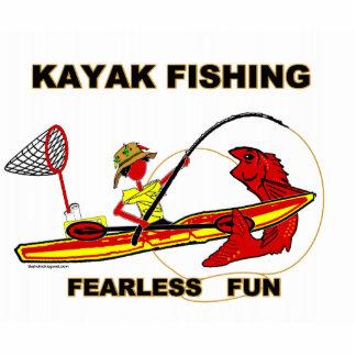 Kayak Fishing Black & White Whimsy Cutout