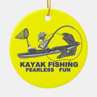 Kayak Fishing Black & White Whimsy Double-Sided Ceramic Round Christmas Ornament