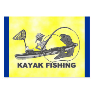 Kayak Fishing Black & White Whimsy Large Business Cards (Pack Of 100)