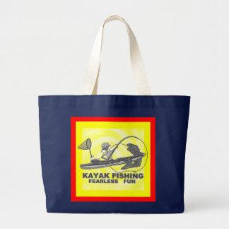 Kayak Fishing Black & White Whimsy Large Tote Bag