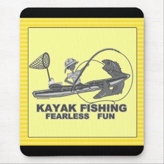 Kayak Fishing Black White Whimsy Mousepad