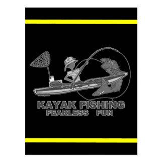 Kayak Fishing Black & White Whimsy Postcard