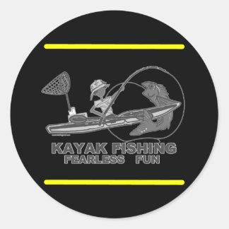 Kayak Fishing Black & White Whimsy Round Stickers
