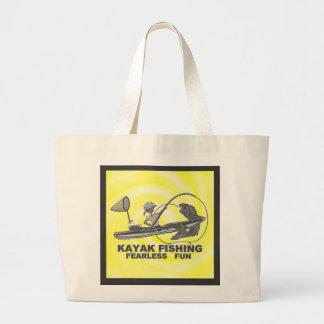 Kayak Fishing Black & White Whimsy Tote Bag