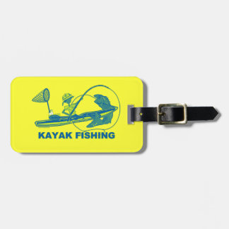 Kayak Fishing Blue Green Silhouette Tag For Luggage