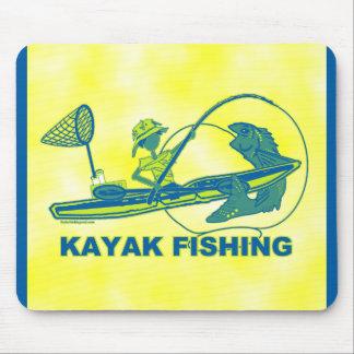Kayak Fishing Blue Green Silhouette Mouse Pad