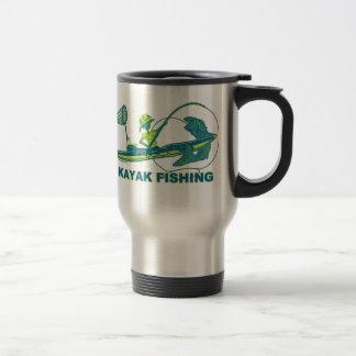 Kayak Fishing Blue Green Silhouette Travel Mug