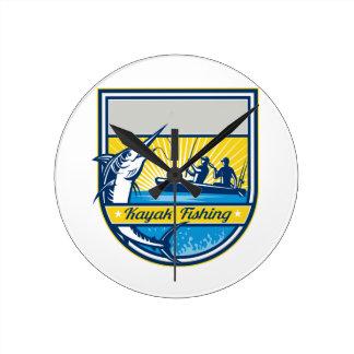 Kayak Fishing Blue Marlin Badge Round Clock