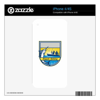 Kayak Fishing Blue Marlin Badge Skins For iPhone 4