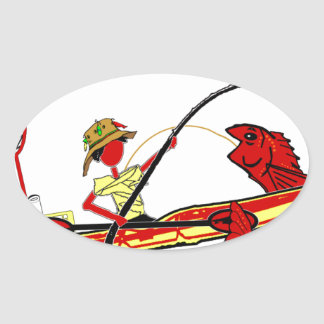 Kayak Fishing Oval Sticker