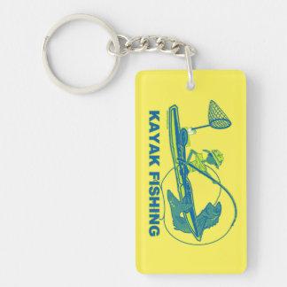 Kayak Fishing Whimsical Design Double-Sided Rectangular Acrylic Keychain