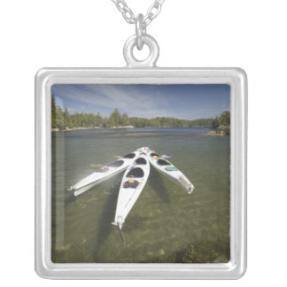 Kayak Fleet at Rest During Late Afternoon at Silver Plated Necklace