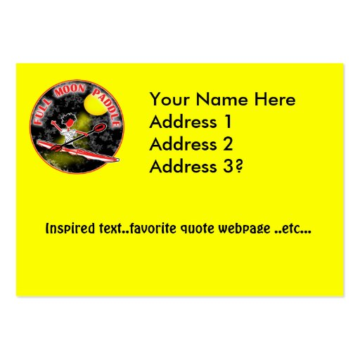 Kayak Full Moon Paddle Large Business Cards (Pack Of 100)