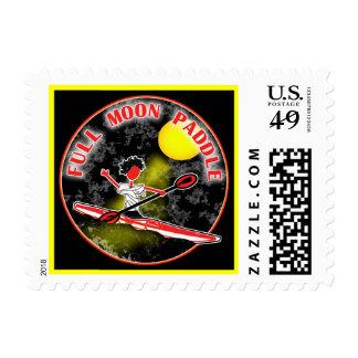Kayak Full Moon Paddle Postage Stamp