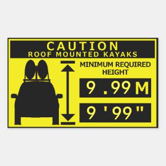 Kayak Height Warning Sticker