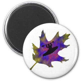 Kayak Hippie Leaf 2 Inch Round Magnet