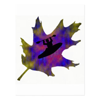 Kayak Hippie Leaf Postcard