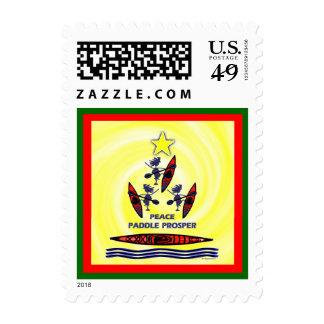 Kayak Holiday Paddle Postage Stamp