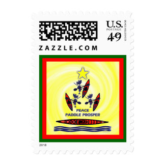Kayak Holiday Paddle Postage Stamps