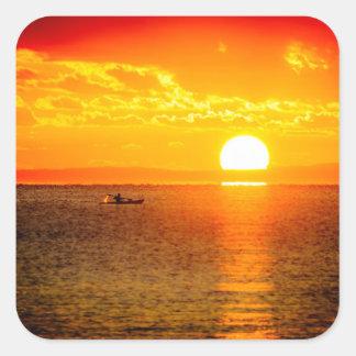 Kayak into the Sunrise Square Sticker